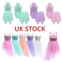 UK Kids Girls Lyrical Ballet Dance Tutu Dress Gymnastics Leotard Shiny Costumes