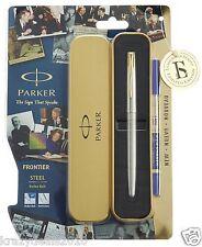 Parker Frontier Steel GT Gold Trim Rollerball Roller Ball Pen Blue Ink 0.5mm Nib