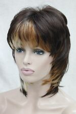 auburn copper red and blonde three tone short straight synthetic women layer wig