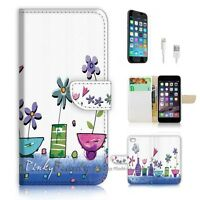 ( For iPhone 6 6S ) Wallet Case Cover  P0932 Flower Painting