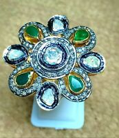 Natural 925 Silver Gold Plated Ring Emerald Gemstone Rose Cut Diamond Ring