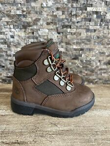 """Timberland Toddler's 6"""" Field Boots Beef & Broccoli 44892 Size 7 EUC"""