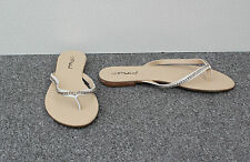 Platino White Flip Flops with Silver Coloured Chains & Toe Post Size 7