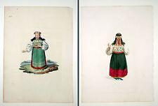 2 Original Prints 1803 Estland Tracht Esthonia Une Esthonienne Costume by Dadley