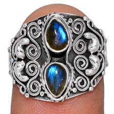 Labradorite - Madagascar 925 Silver Ring Jewelry s.6.5 AR158359 126X