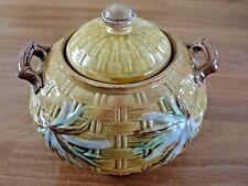 Banks & Thorley Majolica Bamboo & Basket Weave Sugar Bowl England 1886 Pottery