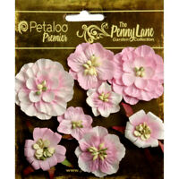 Mixed Blossoms SOFT PINK 8 Paper Flowers 25-45mm across Penny Lane Petaloo Ver