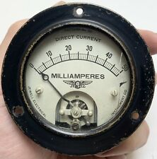 Vtg 1947 Jewell Electric Instrument 50 Milliamperes Electrical Gauge Steampunk