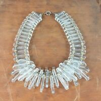 Vintage Clear Lucite Brass Beads Collar Runway Couture Statement Necklace