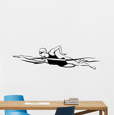 Swimmer Wall Decal Swimming Gym Vinyl Sticker Nautical Bathroom Decor 165hor