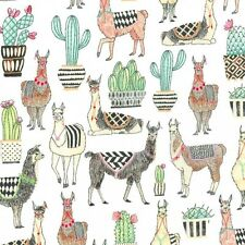 Lovely Llamas on White By The yard cotton print Michael Miller