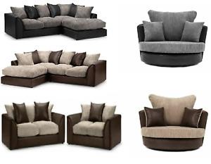 Byron Fabric Leather Jumbo Sofa Corner Suite 3 2 Seater Black Grey Brown Beige