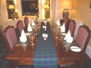 BLACK WATCH TARTAN  TABLE RUNNER. 4,6 & 12 ft (122,182,365 cm) Made in Scotland