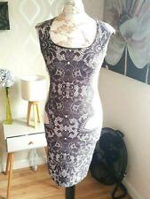 JANE NORMAN Pink/Black Sleeveless Lace Effect Design Bodycon Dress [10]