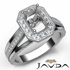 Halo Pave Set Emerald Diamond Semi Mount Engagement Ring 18k White Gold 0.9Ct