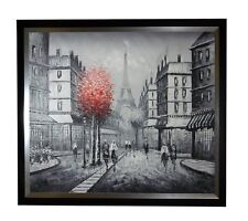 OIL PAINTING OF PARIS EIFFEL TOWERSTREET FRAMED WITH BLACK AND SILVER LIP FRAME