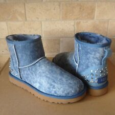 UGG Mini Studded Bling Swarovski Crystal Metal Denim Suede Boots Size 6 Womens