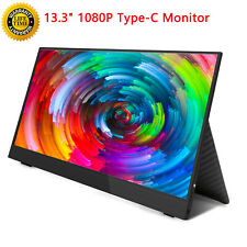 "13.3"" Type-C Mini Screen Display Portable Monitor 1080p HDR HDMI + Leather Cover"
