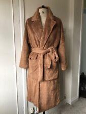 USED | ZARA Camel Colour Wrap Around Winter Long Coat | Size Small