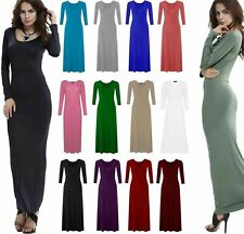 WOMENS LADIES LONG SLEEVE STRETCHY PLAIN JERSEY MAXI DRESS PLUS SIZE