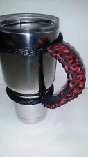 Paracord Handle for 40oz, 30oz & a 20oz Yeti, RTIC, & Ozark  Black Widow pattern