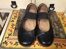 Clarks Collection Black Leather Mary Jane Shoes Womens 7.5 W Slip On,