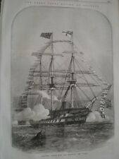 Navy Review Spithead Getting Under Way manning Yards 1856 print ref AT