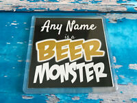 Beer Monster Personalised Coaster  - Drink Coaster - Add Name - Beer Mat