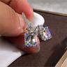 Gorgeous Princess Cut White Sapphire Dangle Earrings 925 Silver Wedding Jewelry
