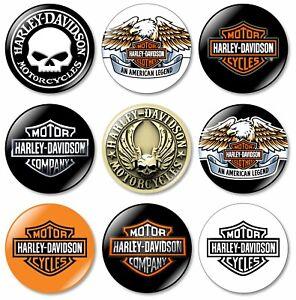 9 x Harley Davidson 32mm BUTTON PIN BADGES Logo Motorcycles Motorcycle Bike Gift