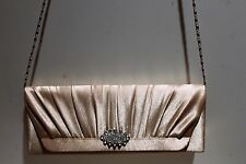 SATIN PURSE Shoulder Bag Clutch Elegant Formal Bag Chic Wedding Light Gold NEW