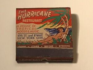 HURRICANE RESTAURANT NYC Matchbook ORIGINAL and UNUSED Extremely RARE