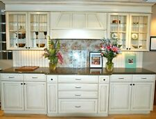 Antique White Kitchen Cabinets, Custom Made 10' X 8' Wood Cabinets