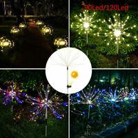 Solar Powered Firework Garden Lights Starburst LED Stake Wedding Party Outdoor W