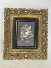 ornate vintage picture frame and flower floral print T.M.C. 1011 wall decor art