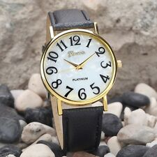 Faux Leather Black Strap Ladies Men's Easy Large Numbers Watch Gold Plated Gift