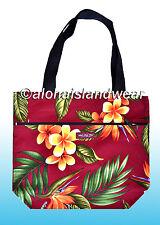 Medium size reversible Hawaiian print Tote Bag - 105Burgundy
