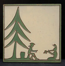 Vintage Tile Pine Tree with Men Wheeling Tile Co.