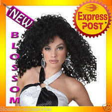 W197 Dancing Queen 70s Disco Black Curly Women Costume Wig