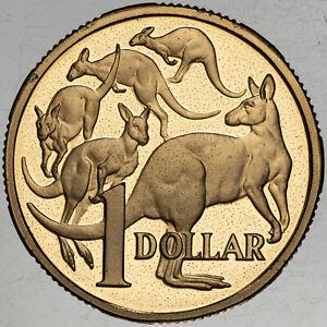 1985 AUSTRALIA 1 DOLLAR PROOF VIBRANT YELLOW TONED COLORING UNC BU GEM (MR)