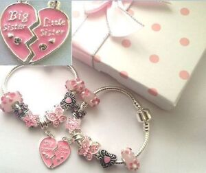 2 CHARM BRACELETS big sister AND little sister any size in gift box FAST DEL