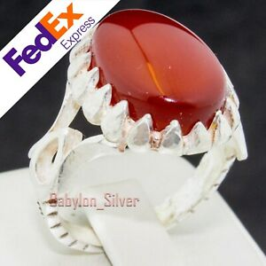 Natural Red Agate Stone 925 Sterling SILVER Turkish Handmade Men Ring All Sizes