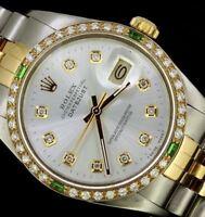 Rolex Mens Datejust Oyster 18K Gold Steel Diamond Emerald Dial Bezel Watch