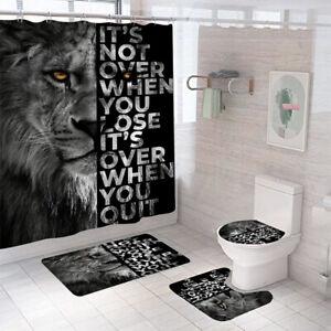 Lion Shower Curtain Set Bathroom Rug Thick Non-Slip Toilet Lid Cover Bath Mat