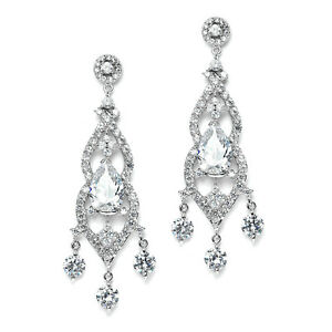 BRIDAL GENUINE CUBIC ZIRCONIA WEDDING or PAGEANT CHANDELIER EARRINGS by MARIELL
