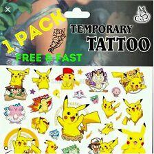 1x Paquete De Pokemon Pikachu Diversión cuerpo tatuajes Children's Bolsillo Dinero Juguetes Hojas ☆