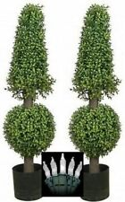 """2 ARTIFICIAL 38"""" BOXWOOD OUTDOOR UV TOPIARY TREE CHRISTMAS LIGHTS CONE BALL 3 4"""