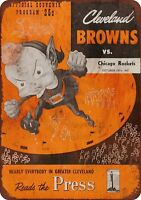 """1947 Cleveland Browns vs. Chicago Rockets Rustic Retro Metal Sign 8"""" x 12"""""""