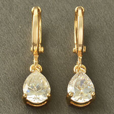 Fashion womens Love 9K Solid Gold Filled clear crystal Dangle Earrings Jewelry