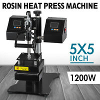 "5"" x 5"" Rosin Heat Press Machine Dual Heating Elements Swing-Arm High Pressure"